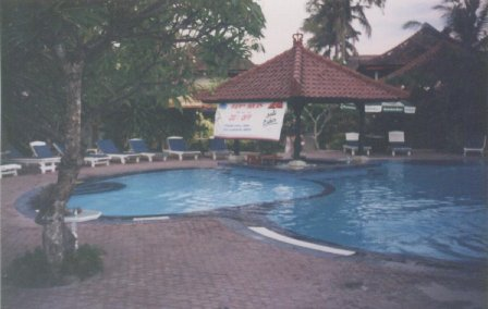 main pool at dusk